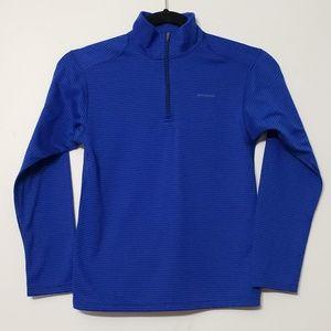 Patagonia Kids Blue Striped 1/4 Zip Polartek, sz M